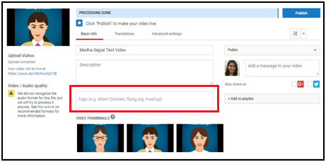 YouTube SEO - Video Tags